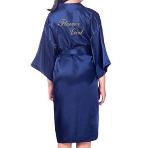Other - Navy satin flower girl robe